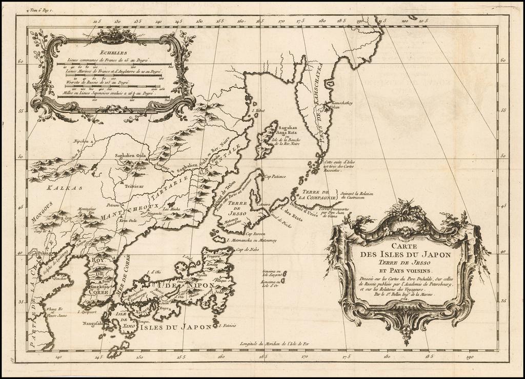 Carte Des Isles Du Japon Terre De Jesso et Pays voisoins.  Dressee sur les Cartes tes Pere Duhalde . . . 1752  (Sea of Korea) By Jacques Nicolas Bellin