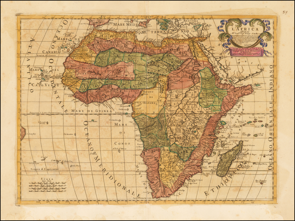 Map Of Africa 1700.L Africa Dedicata 1700 Barry Lawrence Ruderman Antique Maps Inc