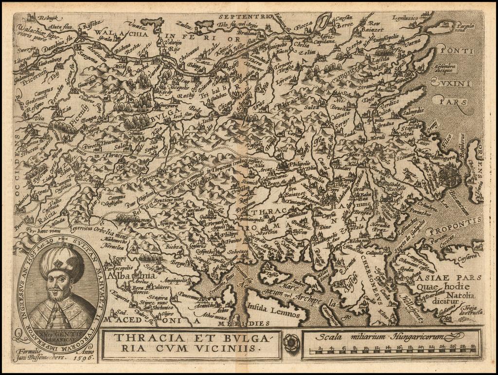 Thracia et Bulgaria Cum Viciniis . . . 1596 By Janus Bussemacher