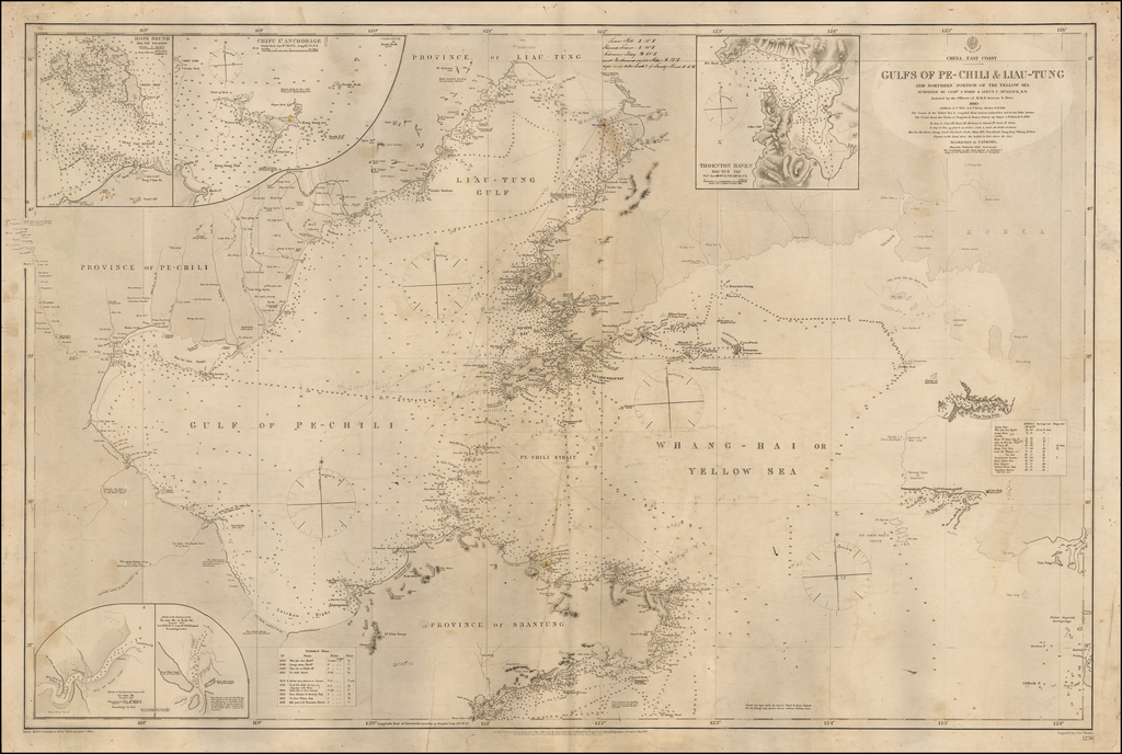 China - East Coast -- Gulf of Pe-Chili & Liau-Tung and Northern Portion of the Yellow Sea Surevey By. Comr. J. Ward & Lieut. C. Bullock, R.N. . . . 1860  Additions by F. Wilde & G.S. Stanley Masters R.N.  1866 By British Admiralty
