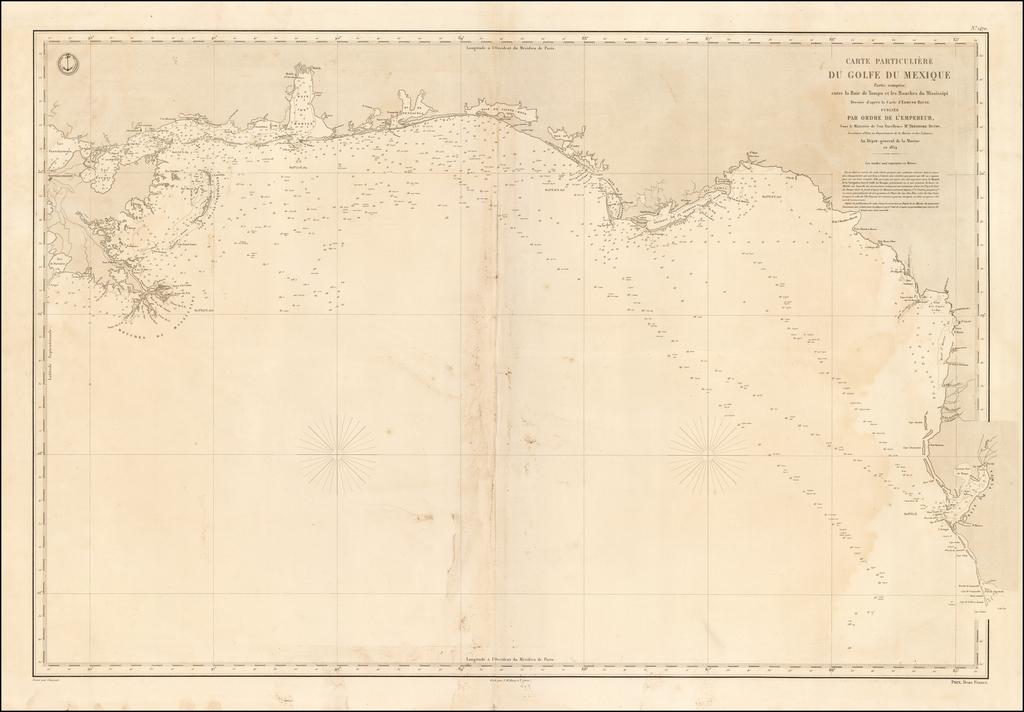 Carte Particuliere du Golfe du Mexique Partie Comprise entre de la Baie de Tampa et les Bouches du Mississipi . . . 1854  [New Orleans to Tampa Bay & Port Charlotte] By Depot de la Marine