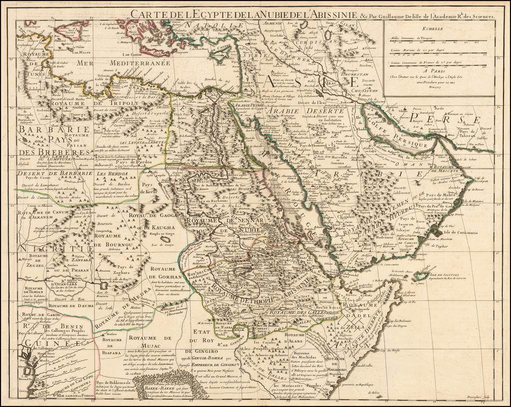 Carte De L'Egypte De La Nubie De L'Abissinie . . . 1707 By Guillaume De L'Isle