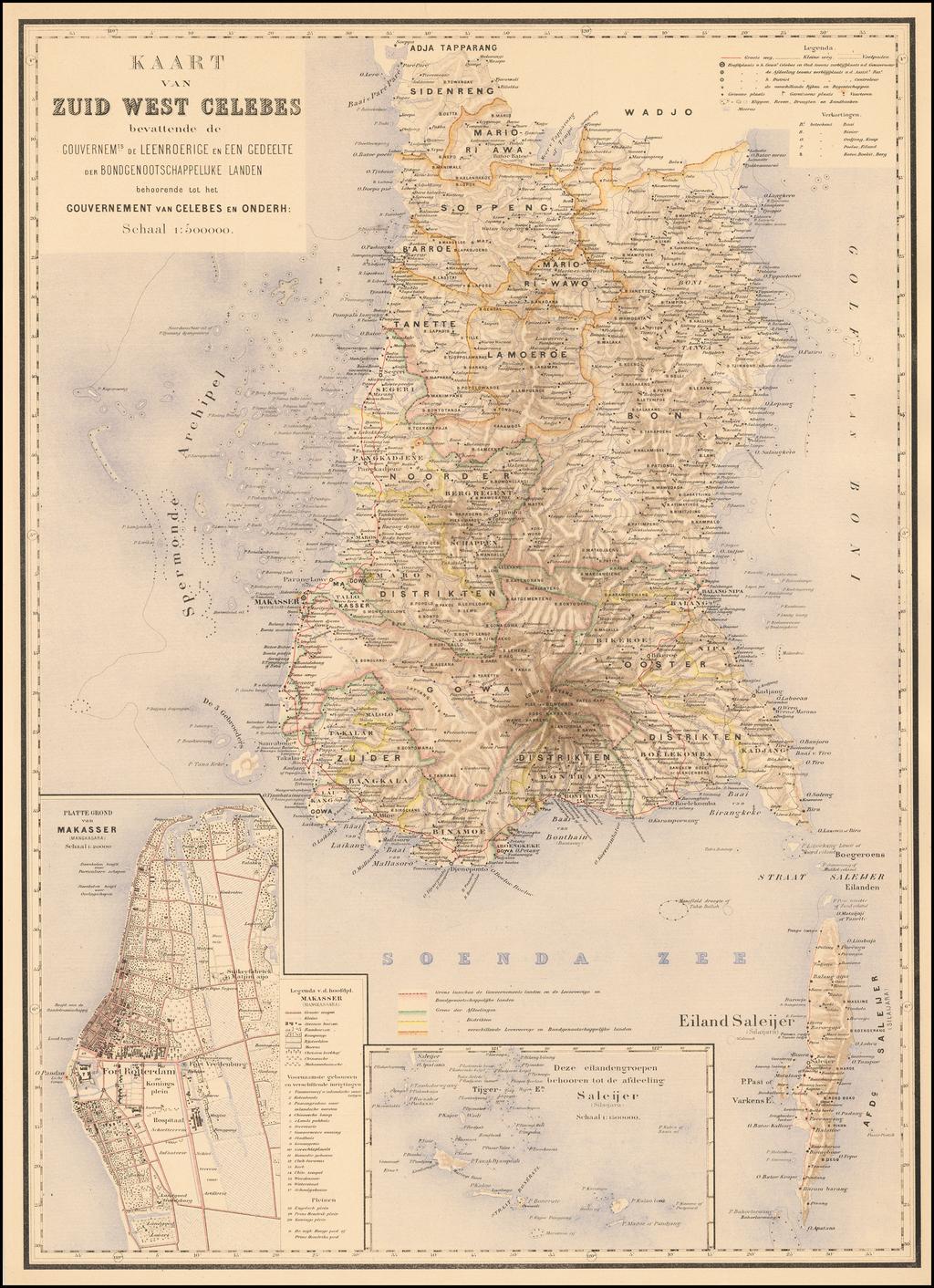 [Sulawesi] Kaart van Zuid West Celebes bevattende deGouvernemts. de Leenroerige en Een Gedeelte der Bondgenootschappelijke Landen behoorende tot het Gouvernements van Celebes en Onderh . . .  By J.W. Stemfoort