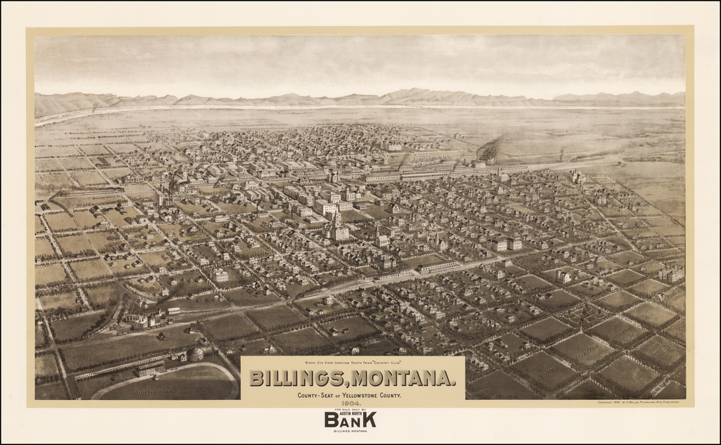 """Billings, Montana.  County-Seat of Yellowstone County.  1904.  Birds Eye View Looking South From """"Country Club""""   By Henry Wellge"""