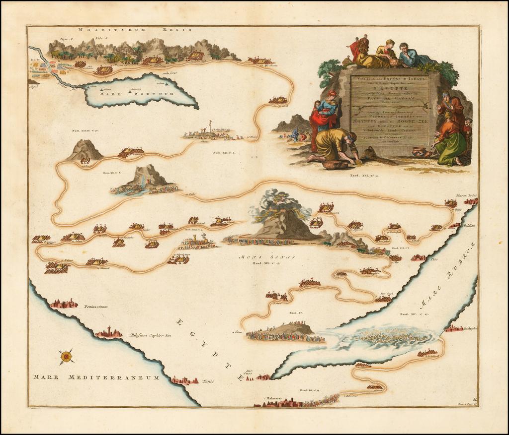 Voyage Des Enfans D'Israel Dans Le Desert Depuis sortie D'Egypte Par la Mer Rouge Insquest au Pays De Canaan . . .  By Johannes Covens  &  Pieter Mortier