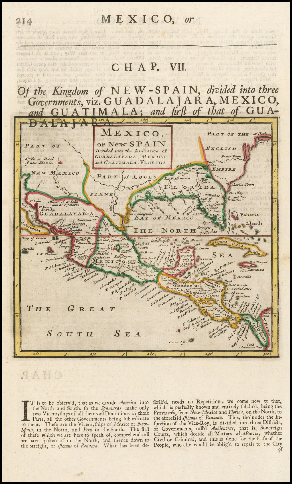Mexico or New Spain.  Divided into the Audiance of Guadalayara, Mexico, and Guatimala, Florida By Herman Moll
