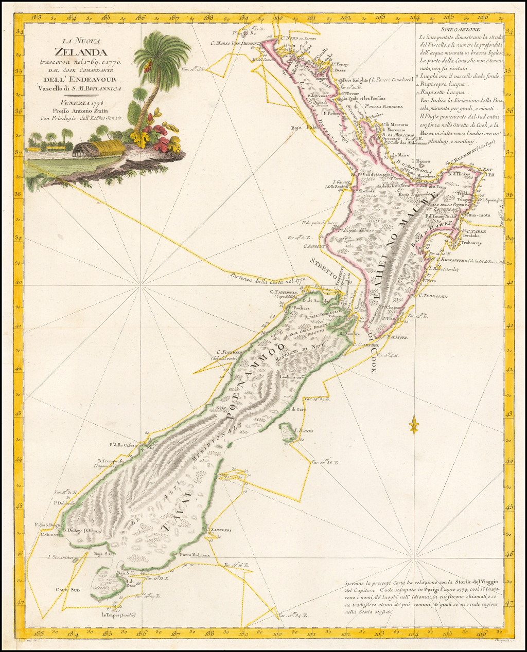 La Nuova Zelanda trascorsa nel 1769 e 1770 d'al Cook Comandante dell' Endeavour Vascello di S. M. Britannica . . . 1778 By Antonio Zatta
