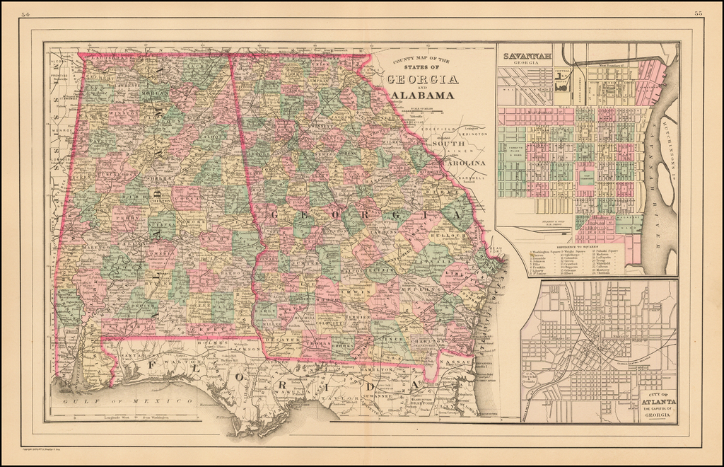 County Map of the States of Georgia and Alabama By Asher  &  Adams