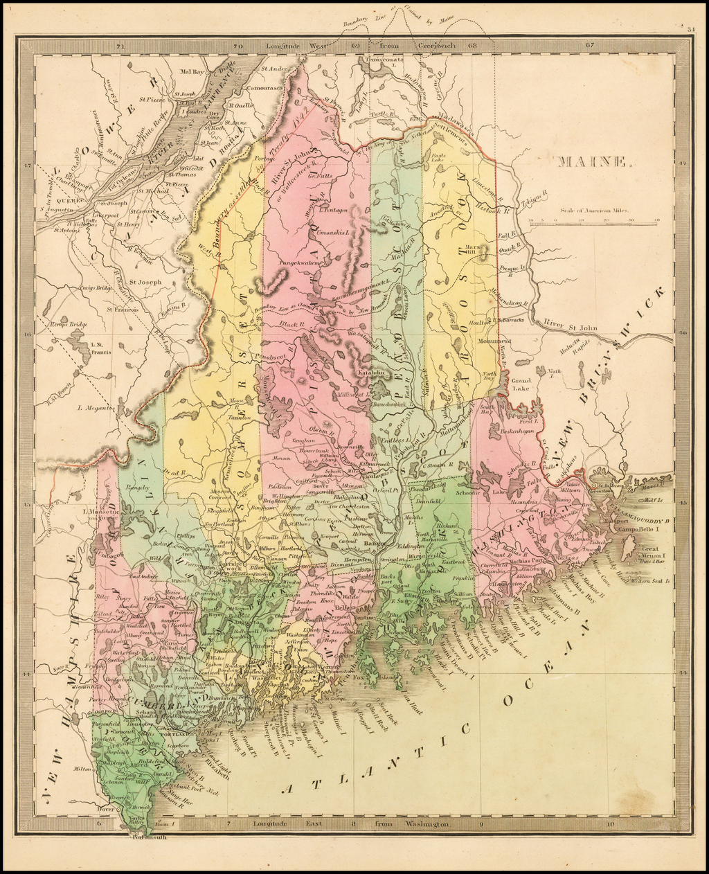 Maine   [showing disputed boundaries as claimed by US, New Brunswick and as settled by the King of the Netherlands] By Jeremiah Greenleaf