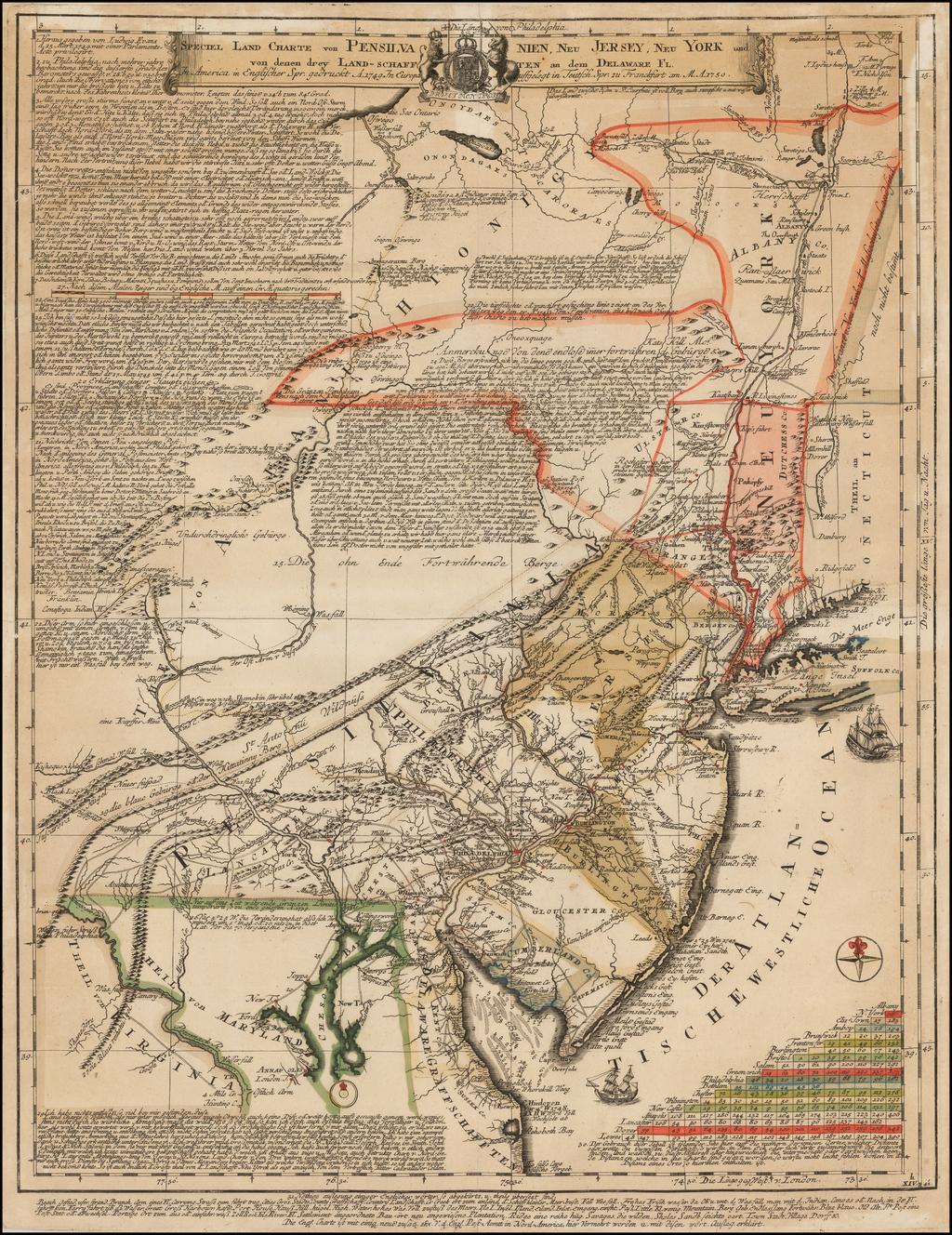 Speciel Land Charte von Pensilvanien, Neu Jersey, Neu York und von denen drey Land-schafften an dem Delaware Fl. In America in Englischer Spr. gedruckt A. 1749 In Europa duffgelegt in Teutsch Spr. zu Francfurt am M. A. 1750. By Lewis Evans
