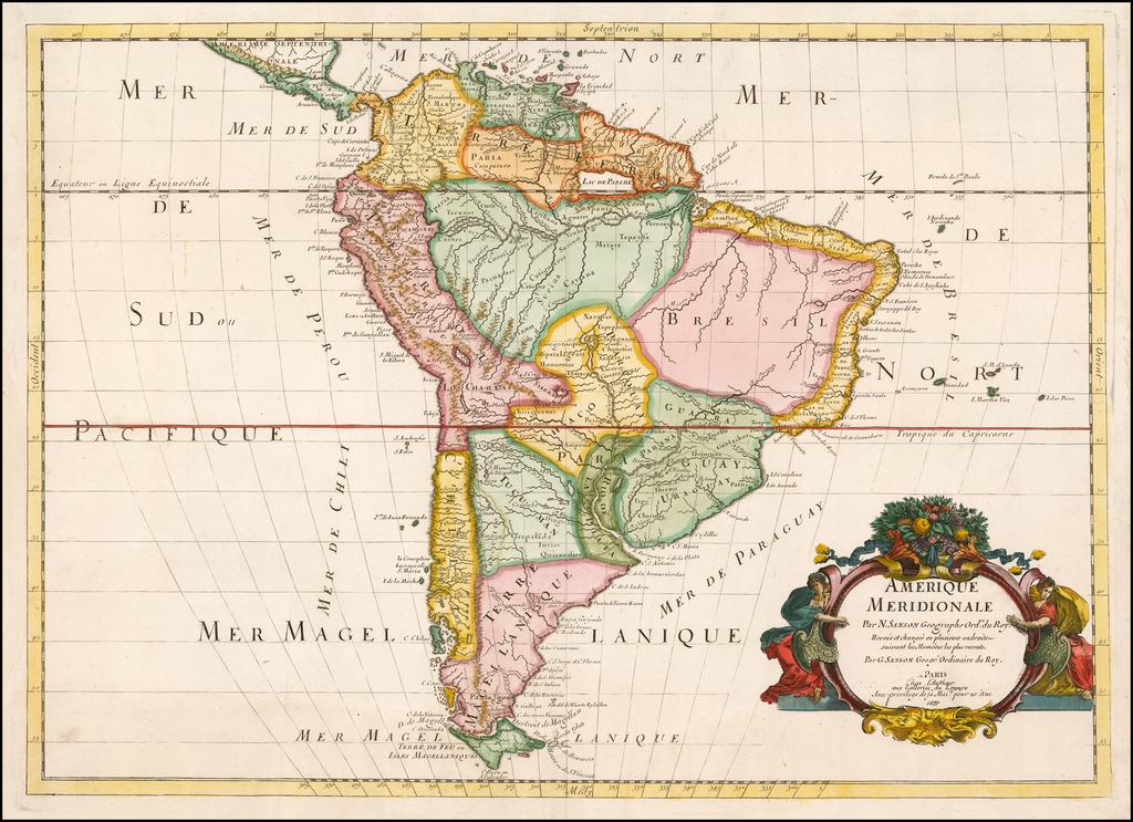 Amerique Meridionale . . . Revue el changee en plusieurs endroits suivant les Memoires les plus recents . . . Chez l'Authour aux Galleries du louvere . . . 1679 By Guillaume Sanson