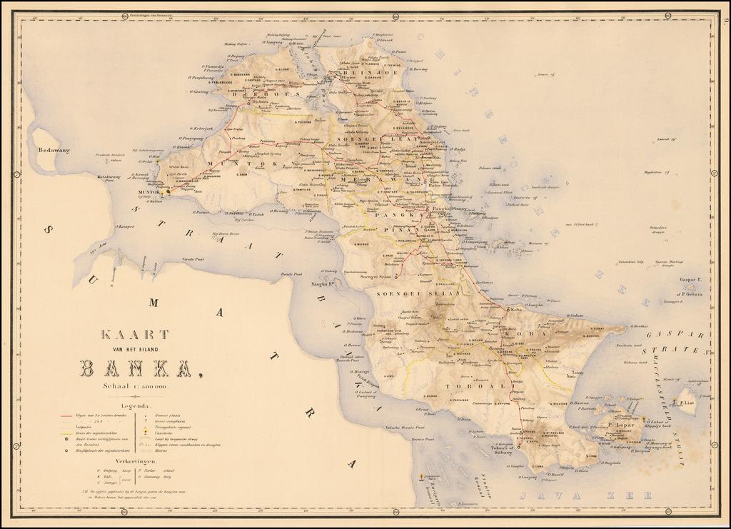 Kaart van het eiland Banka . . .  By J.W. Stemfoort