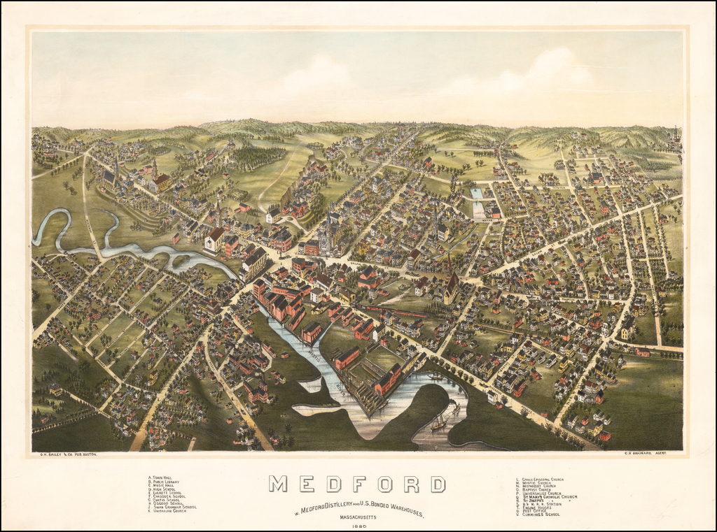 Medford  W. Medford Distillery and U.S. Bonded Warehouses.  Massachusetts 1880 By O.H. Bailey