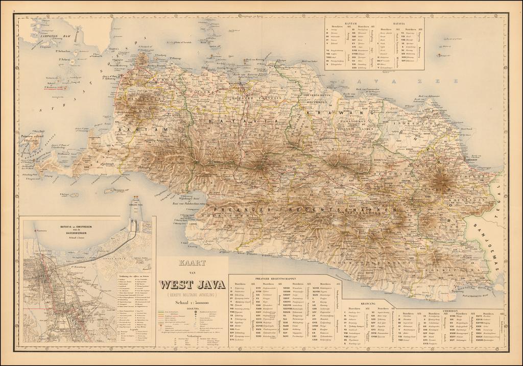 Kaart van West Java (Eerste Militair Afdeeling) By J.W. Stemfoort
