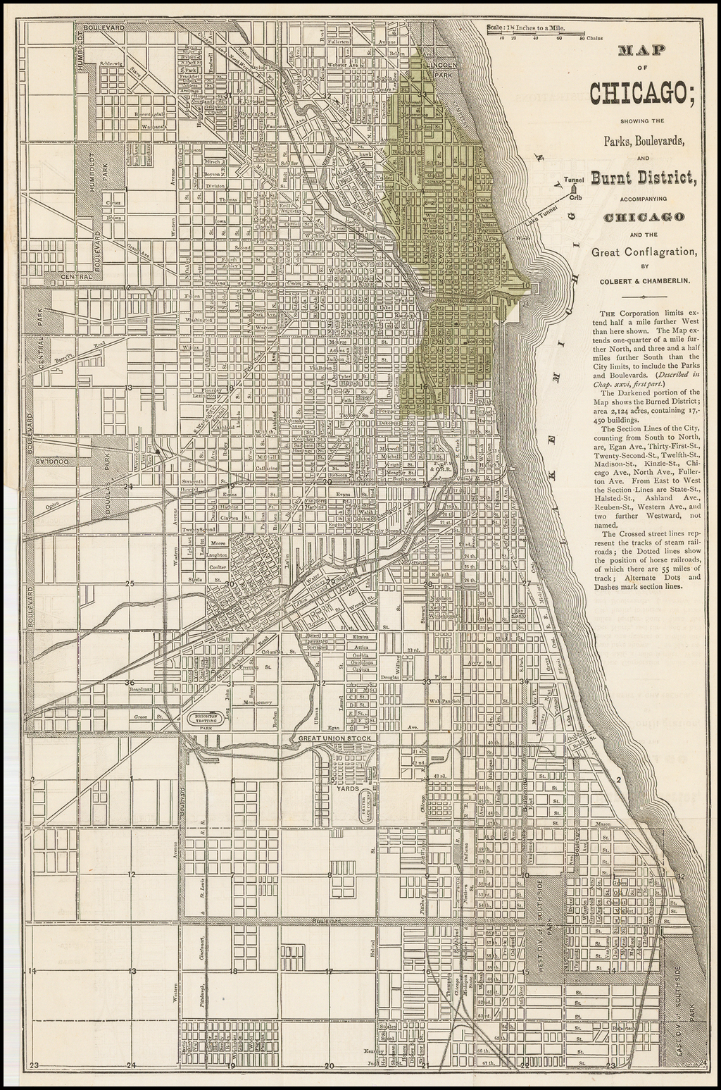 Map of Chicago;  showing the Parks, Boulevards, and Burnt District . . .  By Colbert & Chamberlin