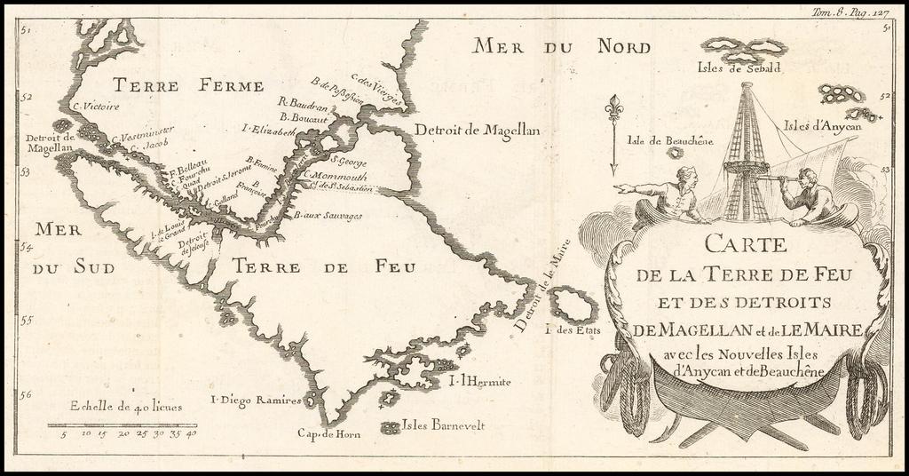 Carte de la Terre de Feu et des Detroits de Magellan et de Le Maire avec les Nouvelles Isles d'Anycan et de Beauchene By Phillipe Canu