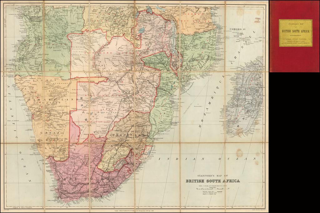 Stanford's Map of British South Africa By Edward Stanford