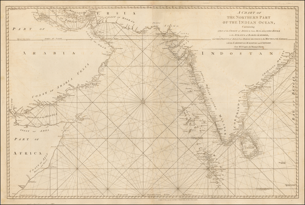 A Chart of the Northern Part of the Indian Ocean, Containing a Part of the Coast of Africa from Magadasho River to the Straits of Bab-El-Mandeb, and the Coasts of Asia from Bab-El-Mandeb to the Mouths of the Ganges; with the Lakedivas, Maldivas and Ceylon from Mr. D'Apres de Mannevillette By James Whittle  &  Robert Laurie