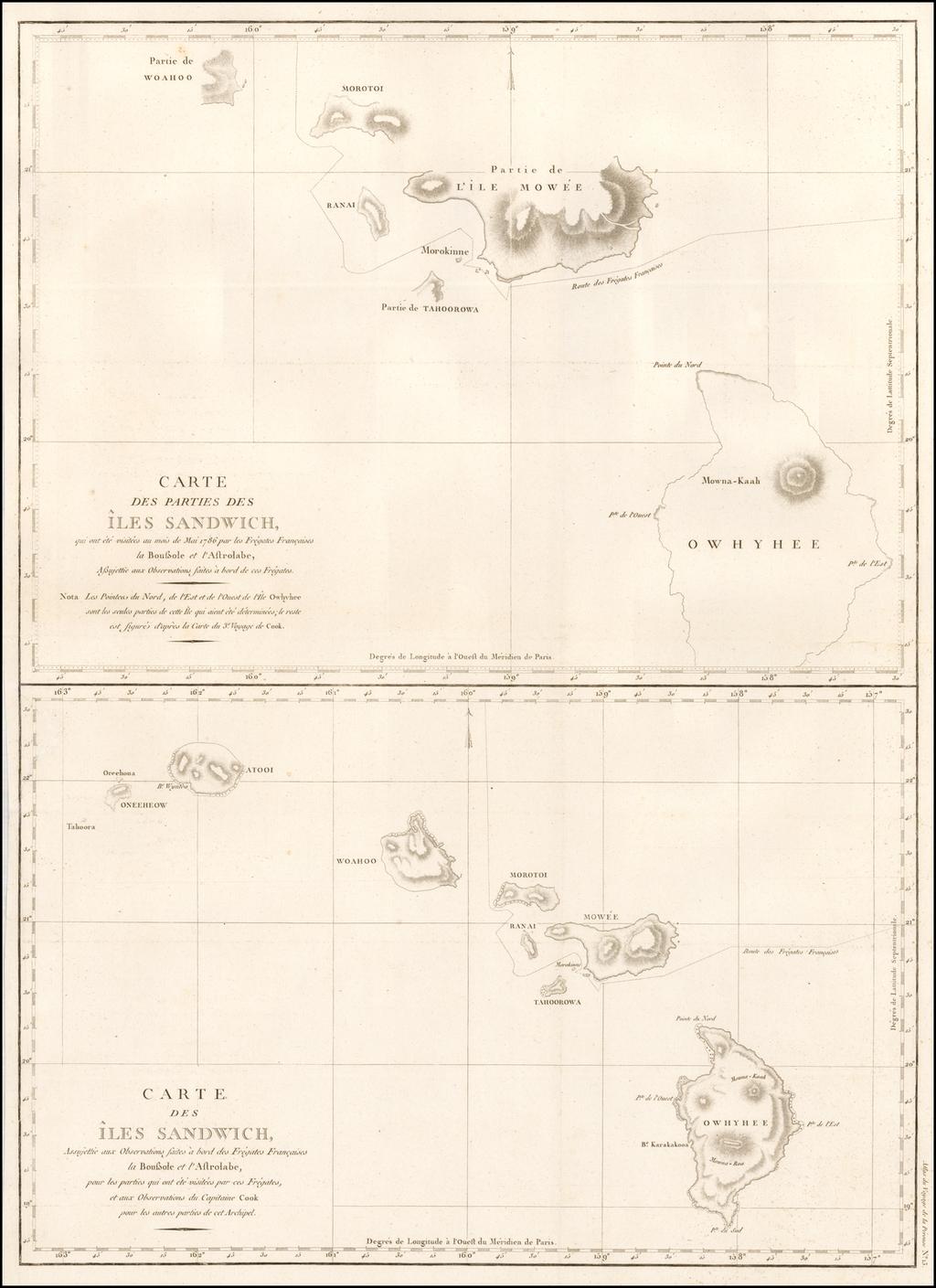 Carte Des Parties Des Iles Sandwich . . . 1786 [with] Carte Des Iles Sandwich . . .  By Jean Francois Galaup de La Perouse