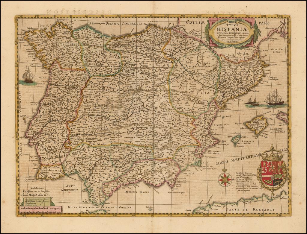Typus Hispaniae ab Hesselo Gerardo dilieata . . . M.DC.XXXI By Henricus Hondius