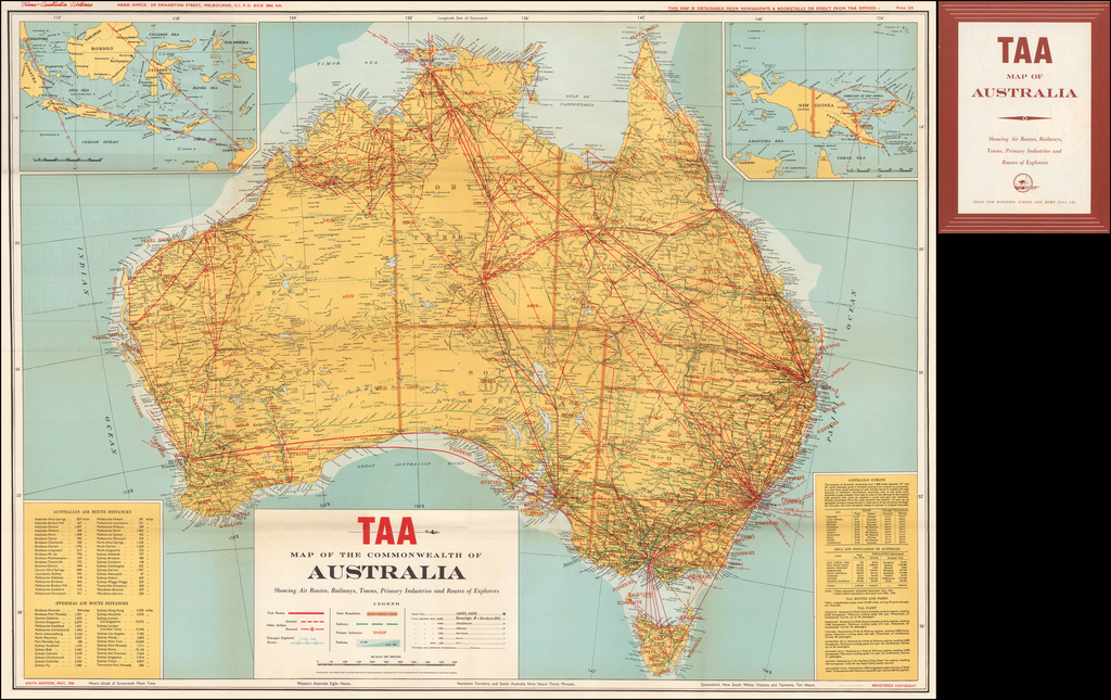 TAA  Map of the Commonwealth of Australia Showing Air Routes, Railways, Towns, Primary Industries and Routes of Explorers . .  Sixth Edition, May 1958. By