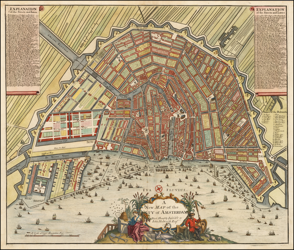 A New Map of the City of Amsterdam Most Humbly Inscrib'd to John Hedworth Esqr.  1720 By John Senex