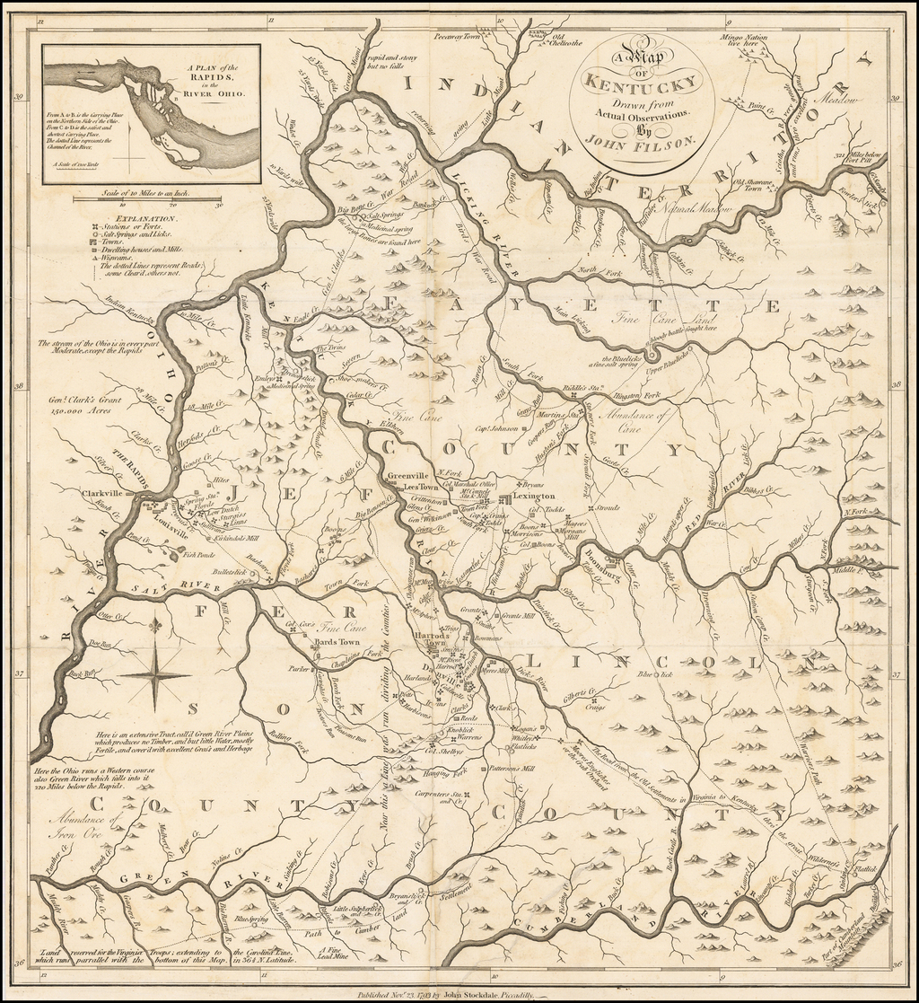 A Map of Kentucky Drawn from Actual Observations.  By John Filson. By John Filson
