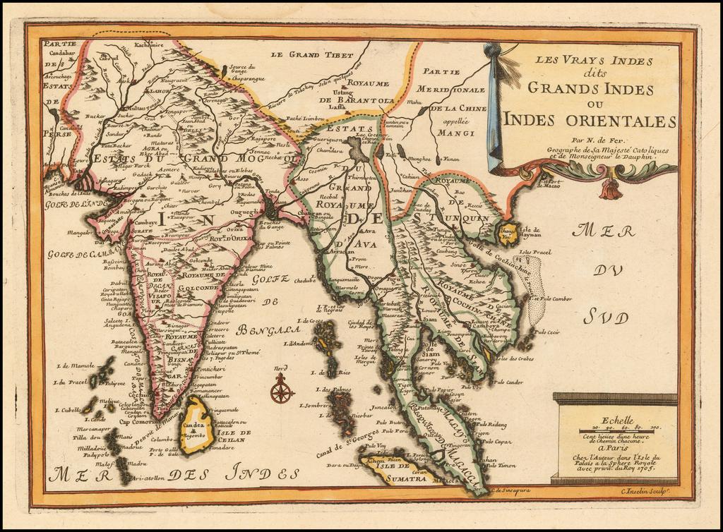 Les Vrays Indes dits Grands Indes ou Indes Orientales By Nicolas de Fer