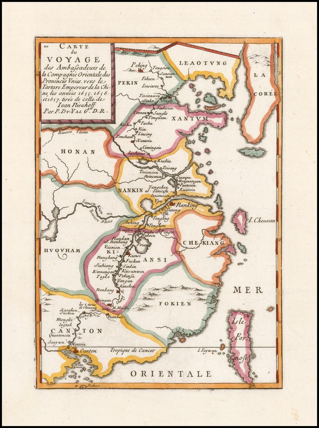 Carte du Voyage des Ambassadeurs de la Compagnie Orientale des Provinces Unies, vers le Tartare Empereur de la Chine, les annees 1655, 1656 et 1657 tiree de cette de Iean Nieuhoff . . .  By Pierre Du Val