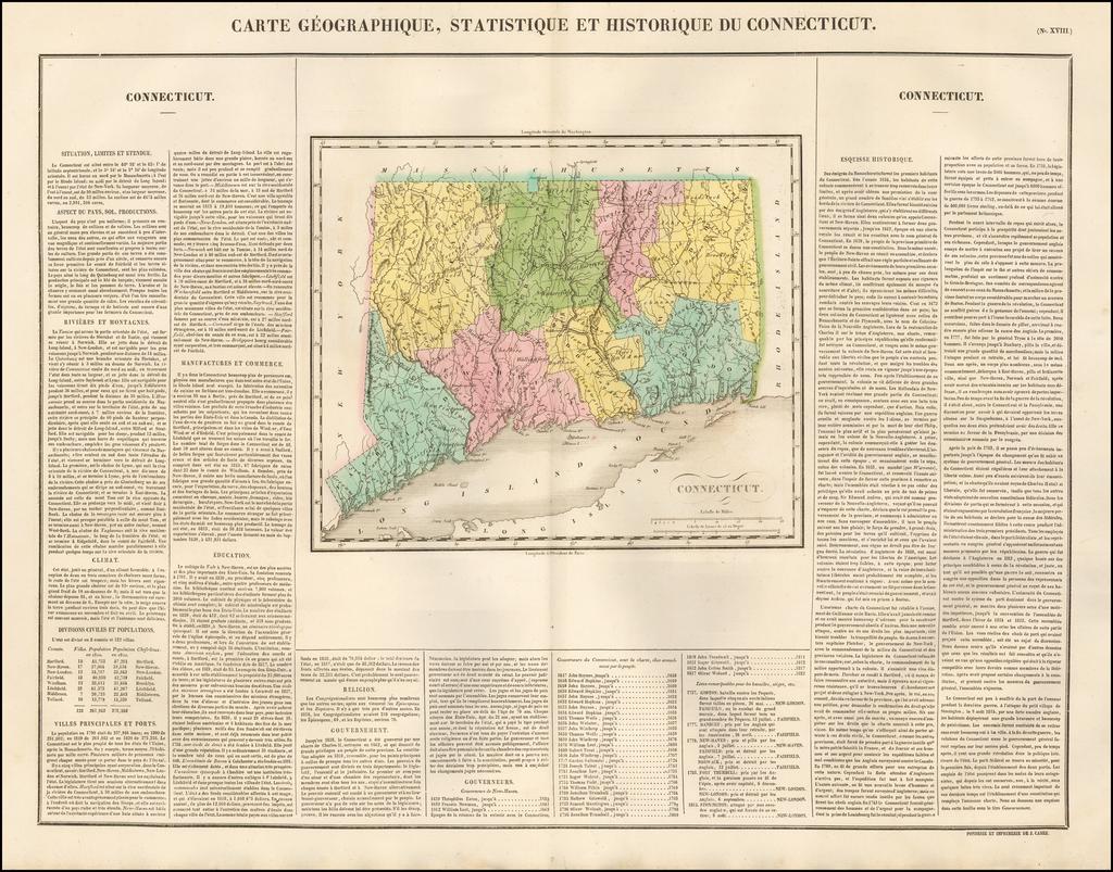 Carte Geographique, Statistique et Historique Du Connecticut By Jean Alexandre Buchon