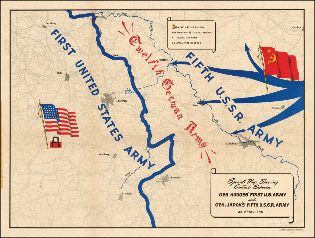 (Second World War - Elbe Day) Special Map Showing Contact Between Gen. Hodges' First U.S. Army and Gen. Jadov's Firth U.S.S.R. Army 25 April 1945 By U.S. Army