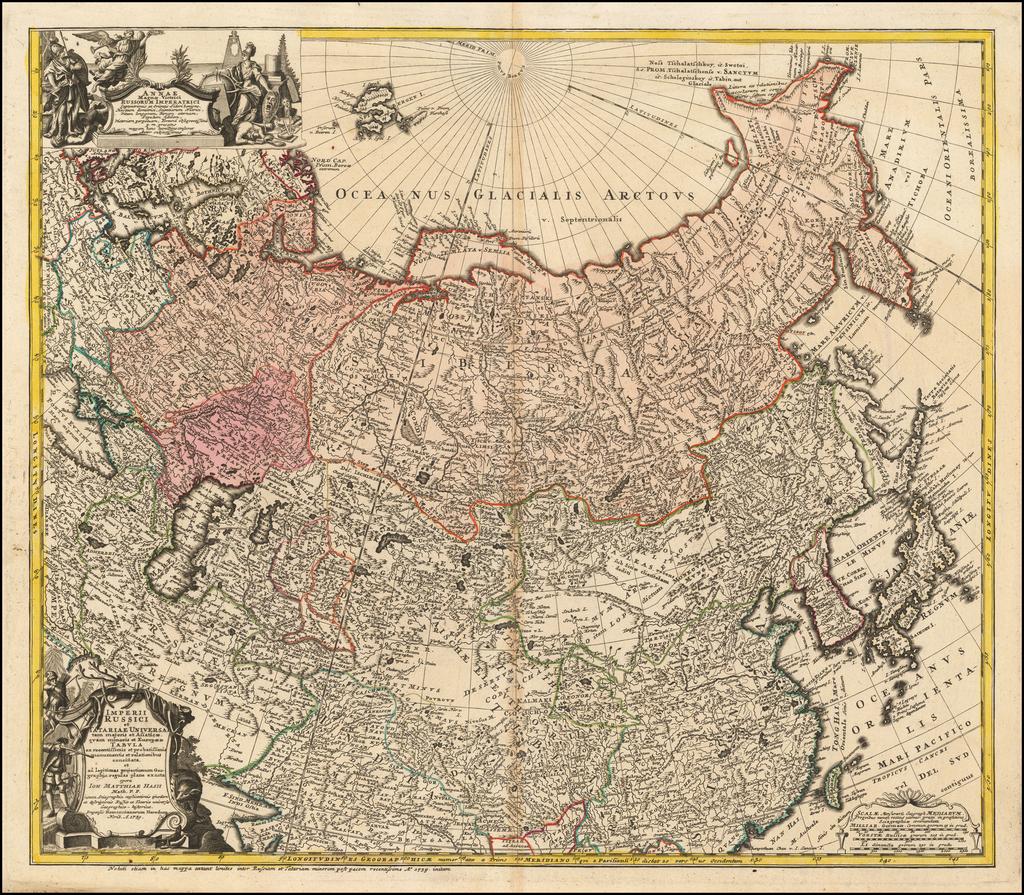 Imperii Russici et Tatariae Universae tam majoris et Asiaticae quam minoris et Europae Tabula . . .  1739 By Homann Heirs / Johann Matthaus Haas
