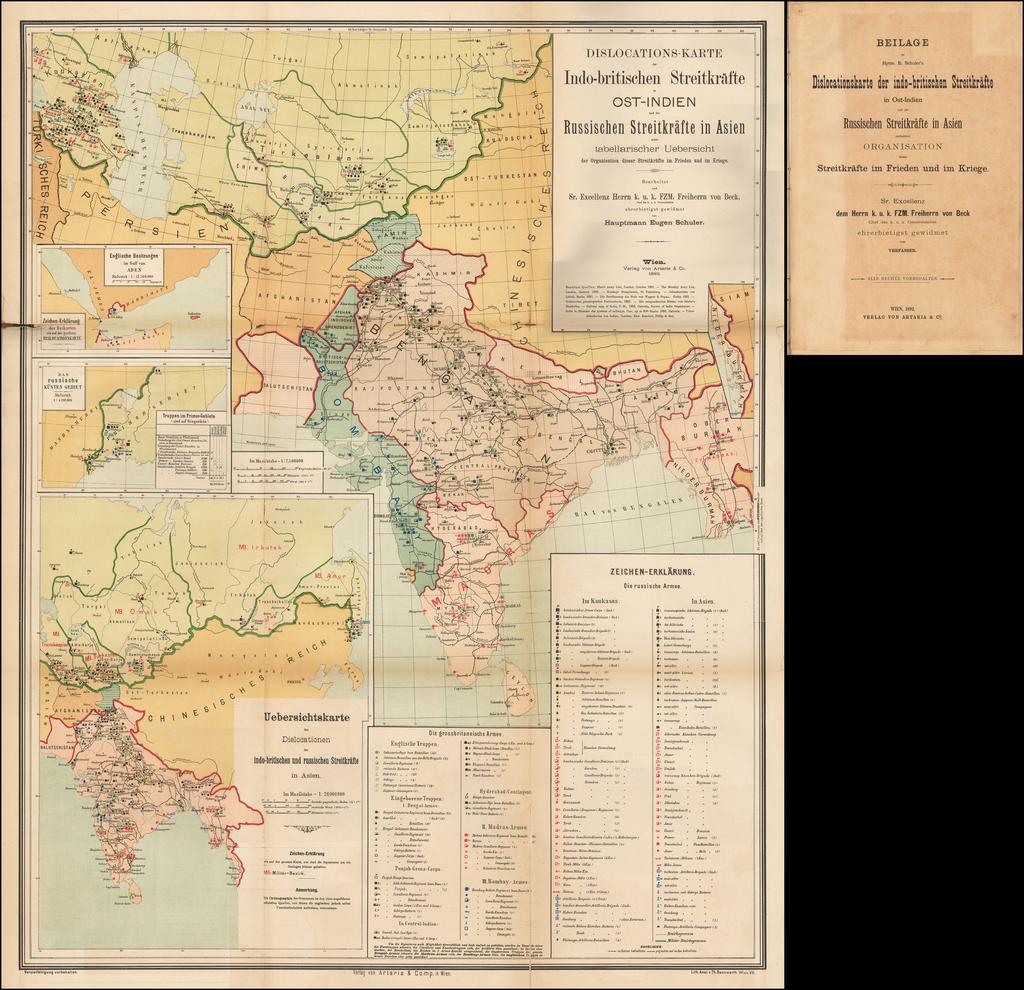Dislocations-Karte der Indo-britischen Streitkräfte in ost-indien un der russischen streitkräfte in Asien nebst tabellarischer Uebersicht der Organisation dieser Streitkräfte im Frieden und im Kriege. By Eugen Schuler