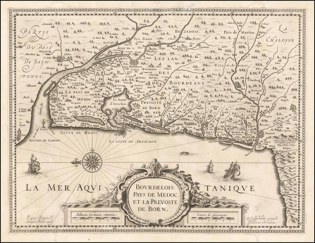 Bourdelois Pays de Medoc et La Prevosted de Born By Jodocus Hondius