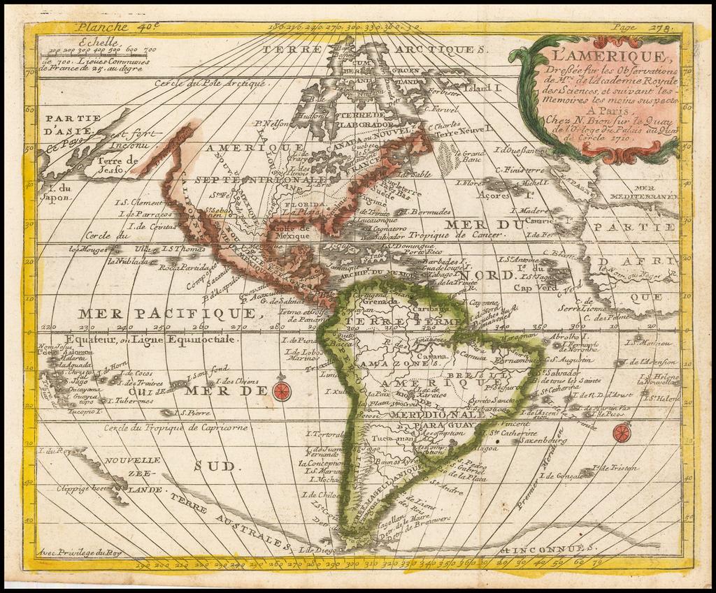 L'Amerique, Dressee sur les Observations . . . 1710 By Nicolas Bion