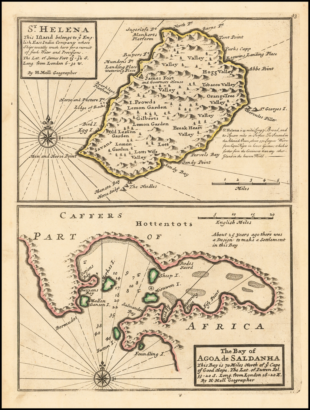 ST. Helena This Island belongs to ye. English East India Company whose Ships usually touch here for a recruit of fresh Water and Provisions . . .  By Herman Moll