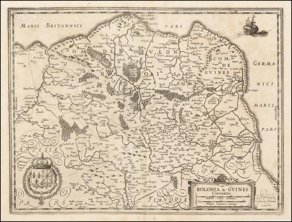 Bolonia & Guines Comitatus By Jodocus Hondius