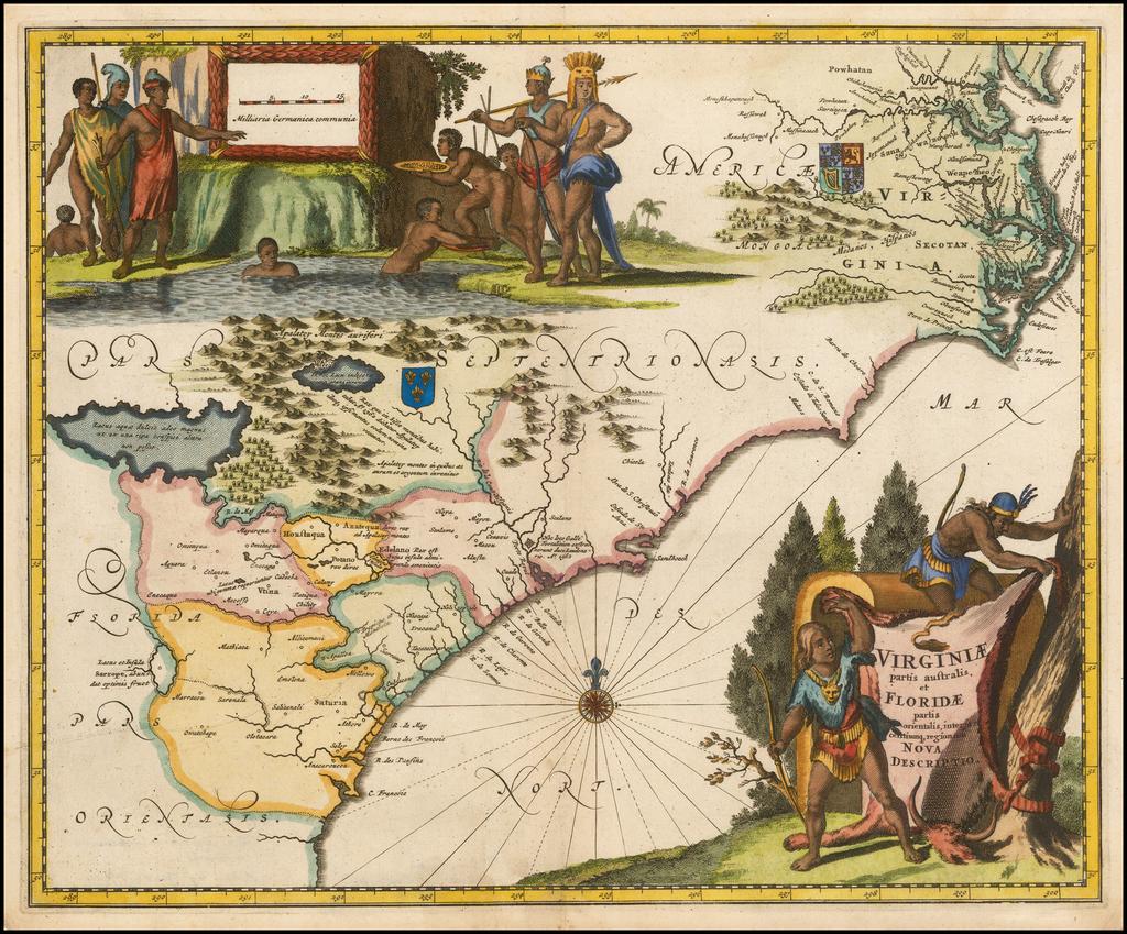 Virginiae Partis australis, et Floridae partis orientalis, interjacentiumq regionum Nova Descriptio By John Ogilby
