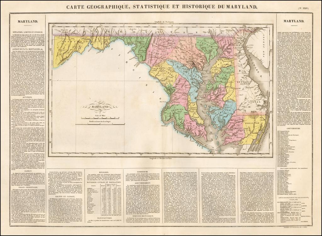 Carte Geographique, Statistique et Historique du Maryland By Jean Alexandre Buchon