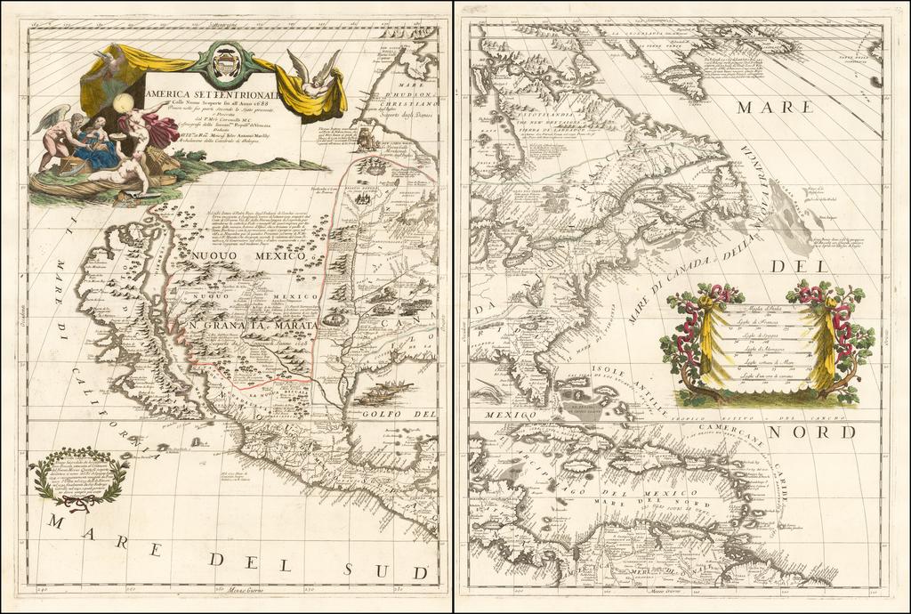 America Settentrionale Colle Nuove Scoperte Sin All Anno 1688  By Vincenzo Maria Coronelli