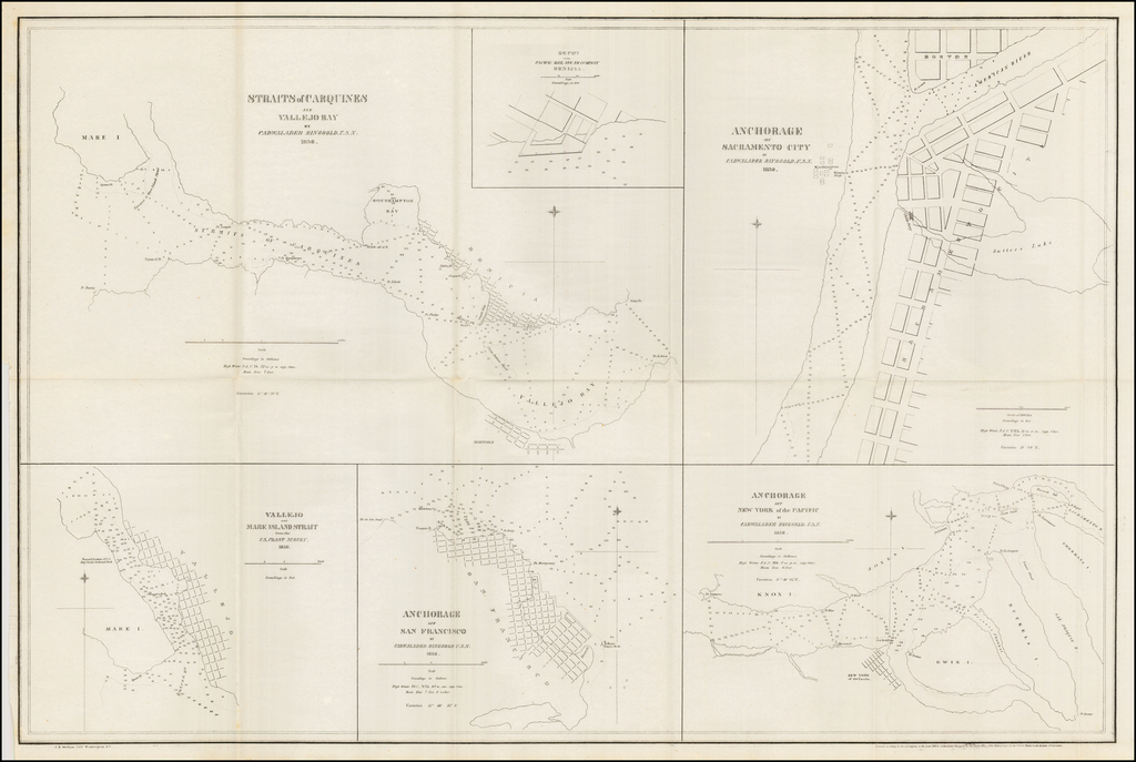 Straits of Carquines and Vallejo Bay . . . 1850 / Anchorage off Sacramento City . . .  / Depot of the Pacific Mail Steam Company, Benicia.  /  Vallejo and Mare Island Strait from the U.S. Coast Survey ... / Anchorage off San Francisco ... / Anchorage off New York of the Pacific By Cadwalader Ringgold