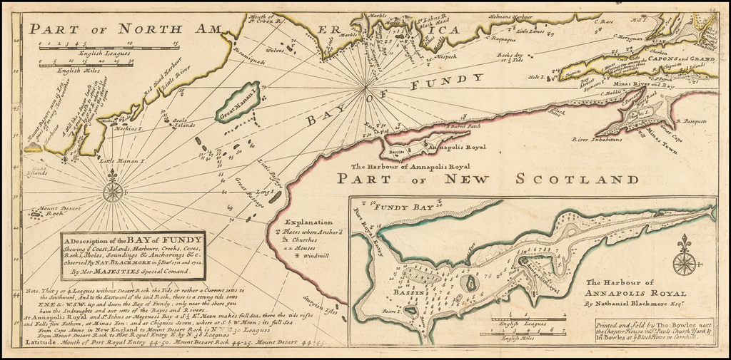 A Description of the Bay of Fundy Shewing ye Coast, Islands, Harbours, Creeks, Coves, Rocks, Sholes, Soundings & Anchorages, etc. observed by Nat. Blackmore in ye year 1711 and 1712 . . .  By Herman Moll