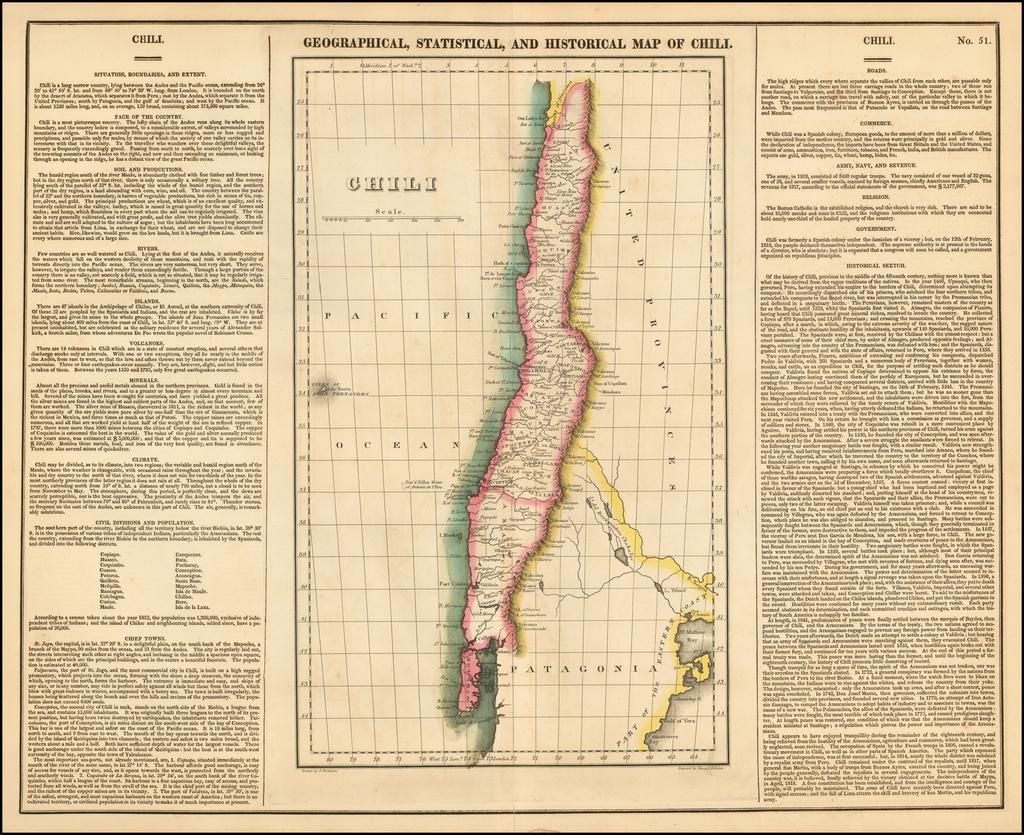 Geographical, Statistical and Historical Map of Chili By Henry Charles Carey  &  Isaac Lea