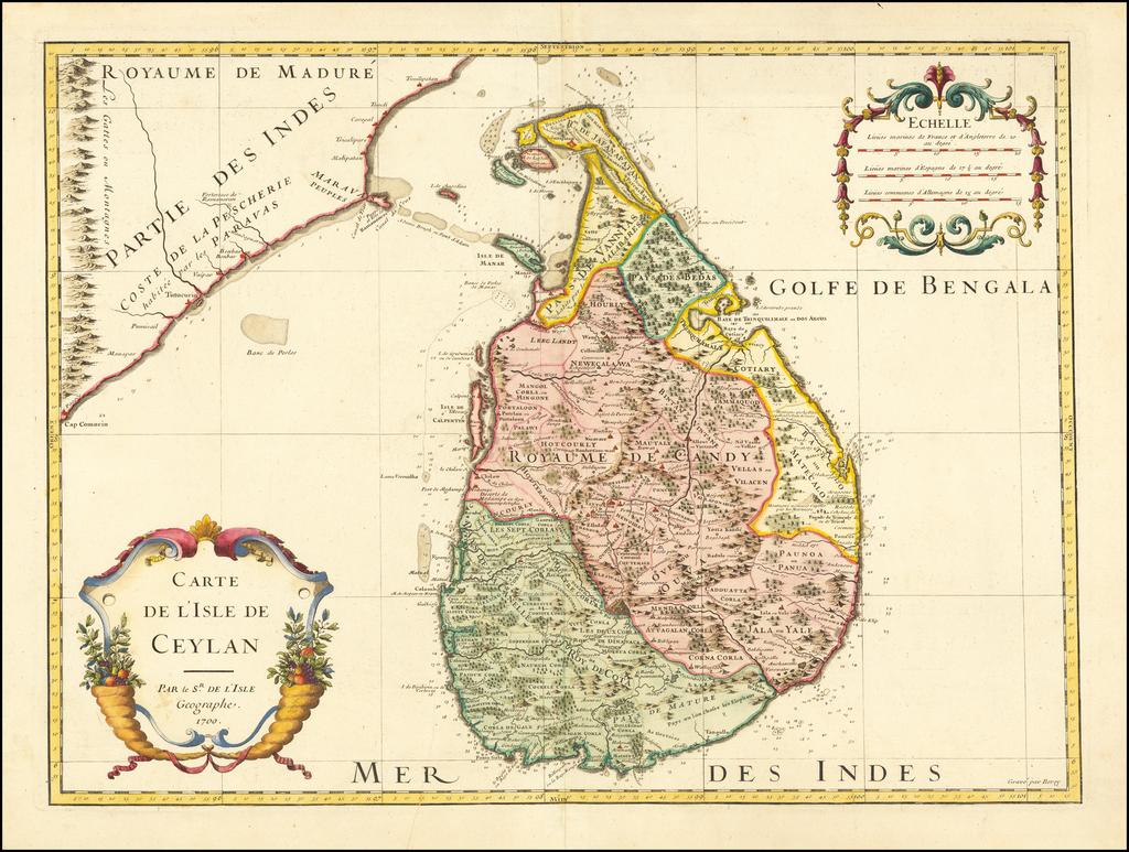Carte De L'Isle De Ceylan . . . 1700 By Guillaume De L'Isle
