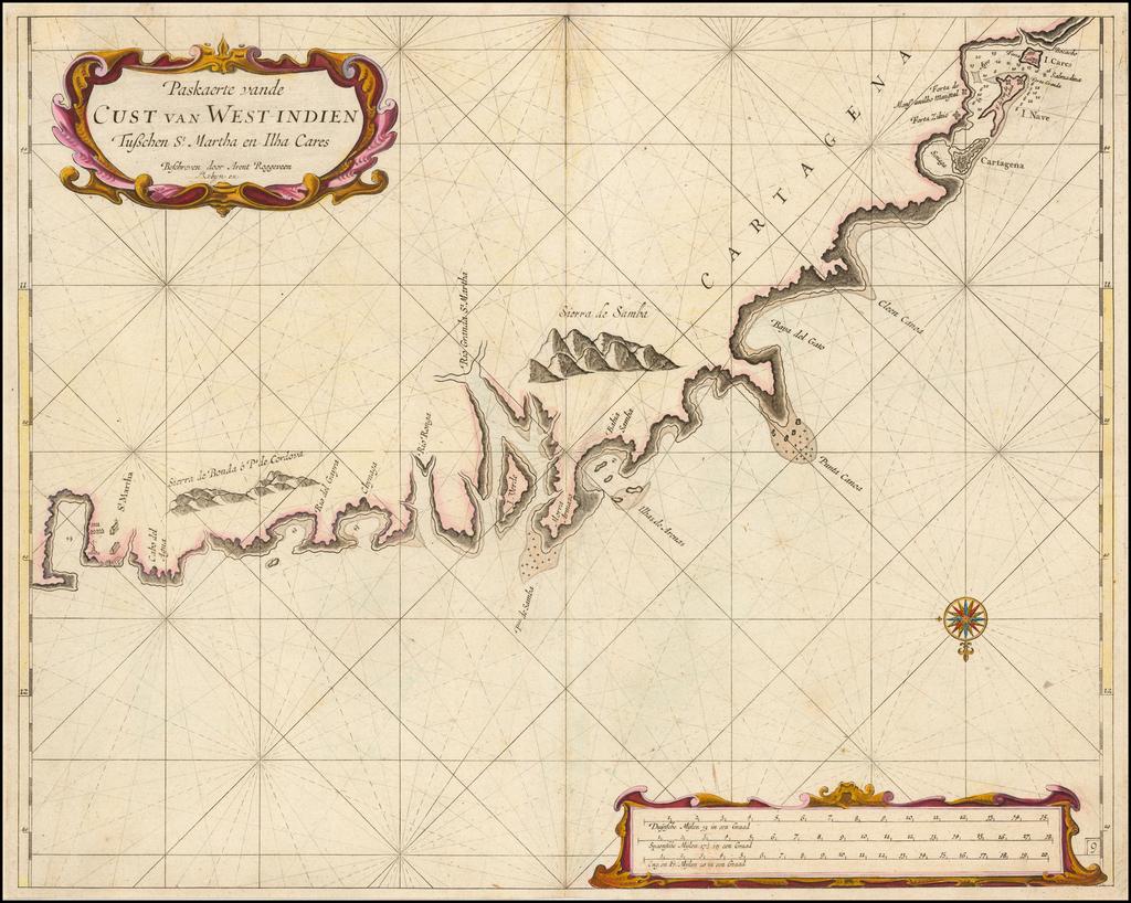 (Colombia)  Paskaerte vande Cust van West-Indien Tuschen St. Martha en Ilha Cares . . .   By Arent Roggeveen / Jacobus Robijn