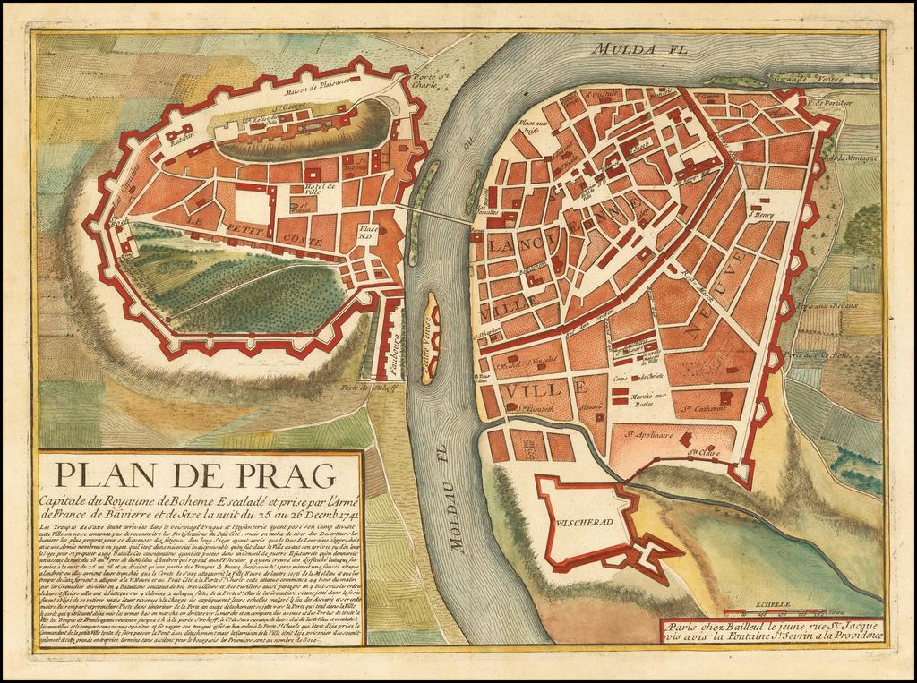 Plan de Prag Capitale du Royaume de Boheme Escalade et prise par l'Arme de France de Vavierre et de Saxe la nuit du 25 au 26 Decmb. 1741 By Gaspar Baillieul
