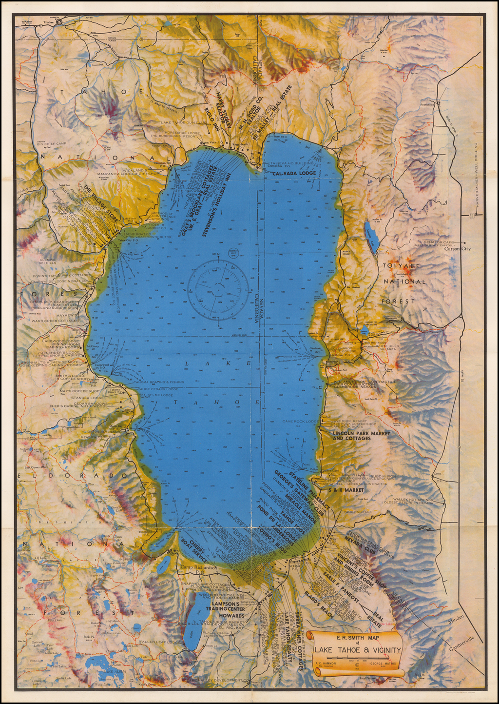 E.R. Smith Map of Lake Tahoe & Vicinity By E. R. Smith