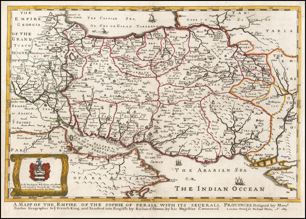 A Mapp of the Empire of the Sophie of Persia, with its Several Provinces . . . 1669 By Richard Blome