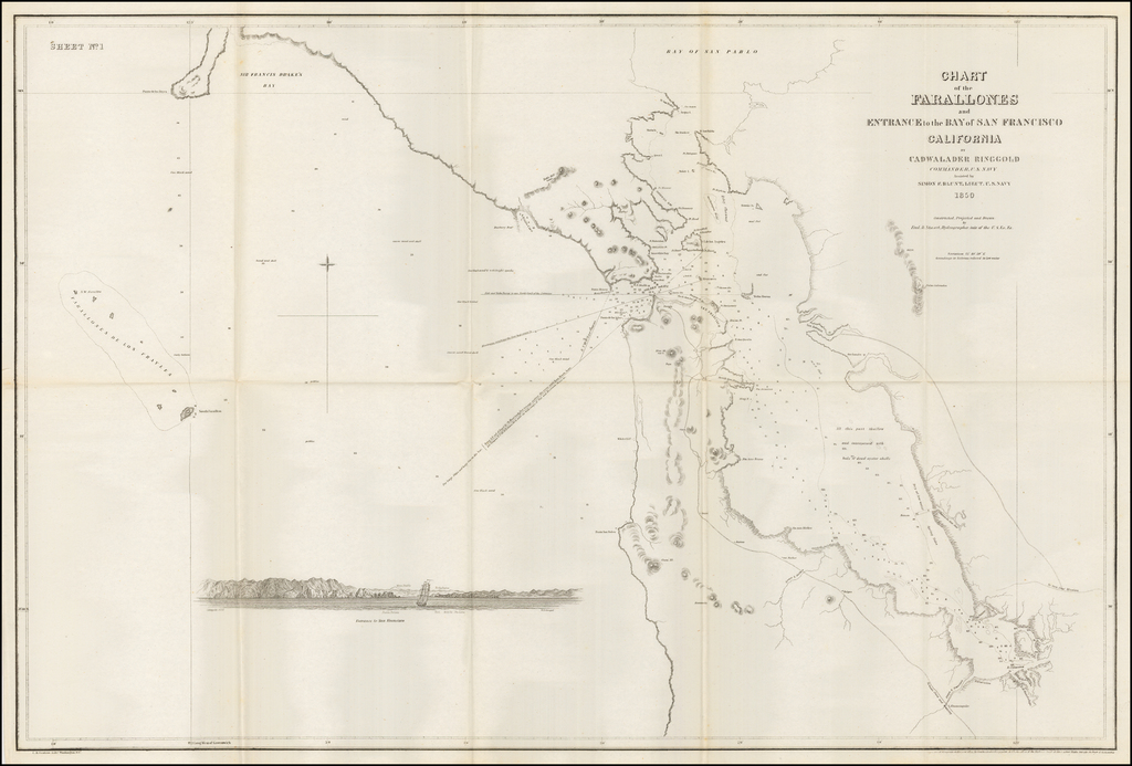 Chart of the Farallones and Entrance to the Bay of San Francisco... 1850. By Cadwalader Ringgold