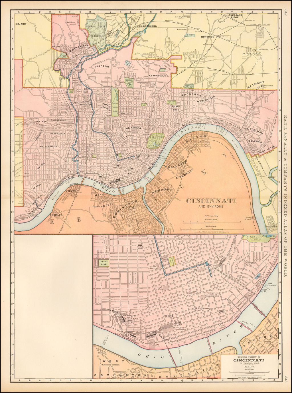 Cincinnati and Environs [with] Business Portion of Cincinnati on Enlarged Scale By Rand McNally & Company